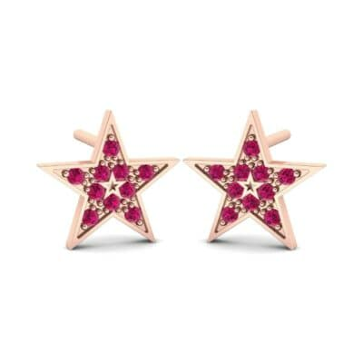 Pave Star Ruby Earrings (0.24 CTW) Perspective View
