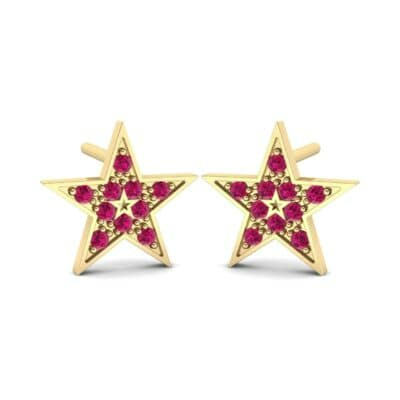 Pave Star Ruby Earrings (0.22 Carat)