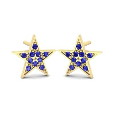 Pave Star Blue Sapphire Earrings (0.22 Carat)