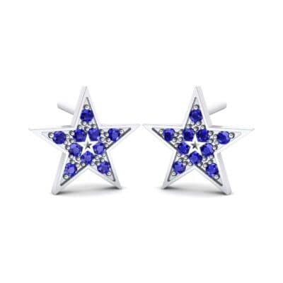 Pave Star Blue Sapphire Earrings (0.24 CTW) Perspective View