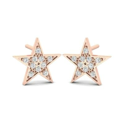 Pave Star Diamond Earrings (0.16 CTW) Perspective View