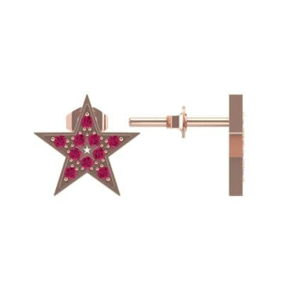 Pave Star Ruby Earrings (0.24 CTW) Top Dynamic View
