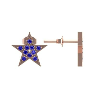 Pave Star Blue Sapphire Earrings (0.24 CTW) Top Dynamic View