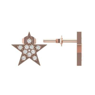 Pave Star Diamond Earrings (0.16 CTW) Top Dynamic View