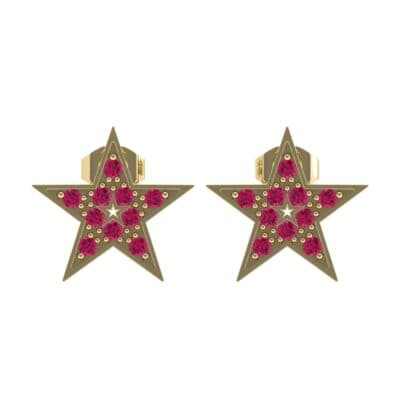 Pave Star Ruby Earrings (0.24 CTW) Side View