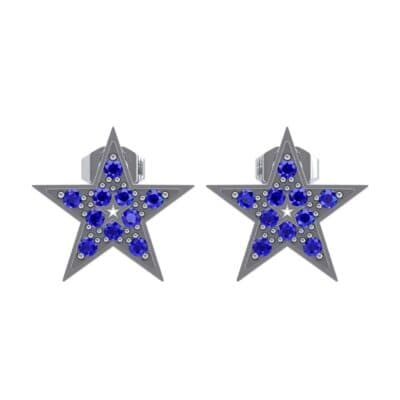 Pave Star Blue Sapphire Earrings (0.24 CTW) Side View
