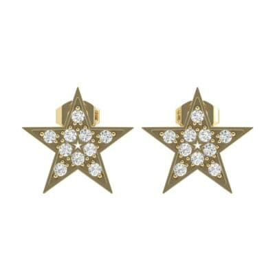 Pave Star Diamond Earrings (0.16 CTW) Side View