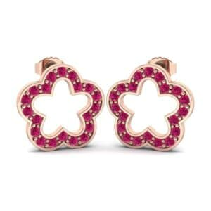 Pave Flora Ruby Earrings (0.44 Carat)