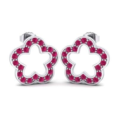Pave Flora Ruby Earrings (0.48 CTW) Perspective View