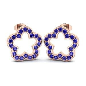 Pave Flora Blue Sapphire Earrings (0.44 Carat)
