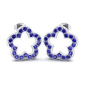 Pave Flora Blue Sapphire Earrings (0.44 Carat)