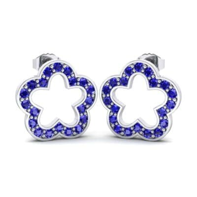 Pave Flora Blue Sapphire Earrings (0.48 CTW) Perspective View