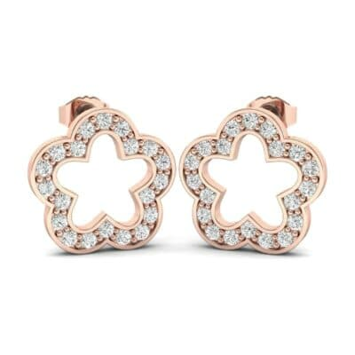 Pave Flora Diamond Earrings (0.32 CTW) Perspective View