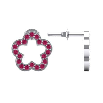 Pave Flora Ruby Earrings (0.48 CTW) Top Dynamic View