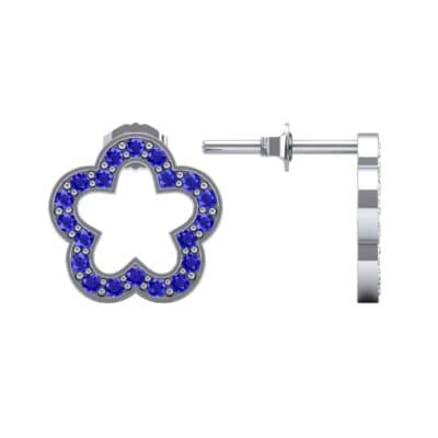 Pave Flora Blue Sapphire Earrings (0.48 CTW) Top Dynamic View