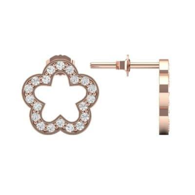 Pave Flora Diamond Earrings (0.32 CTW) Top Dynamic View