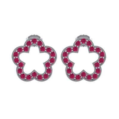 Pave Flora Ruby Earrings (0.48 CTW) Side View
