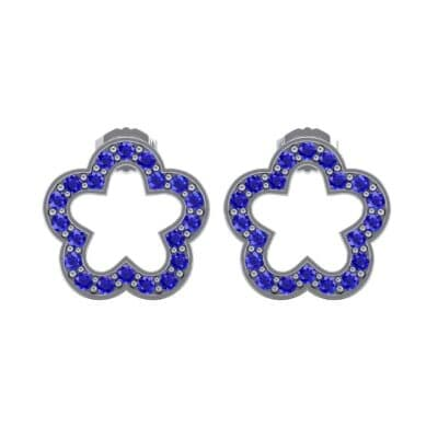 Pave Flora Blue Sapphire Earrings (0.48 CTW) Side View