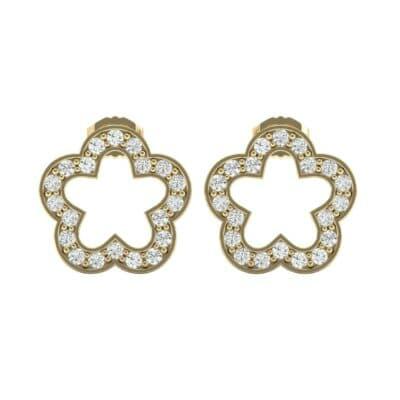 Pave Flora Diamond Earrings (0.32 CTW) Side View