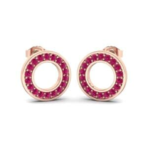 Pave Circle Ruby Earrings (0.18 Carat)