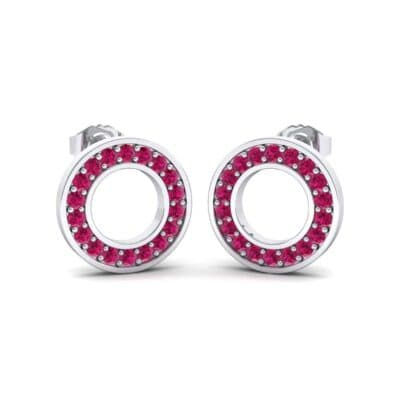 Pave Circle Ruby Earrings (0.19 CTW) Perspective View