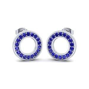 Pave Circle Blue Sapphire Earrings (0.18 Carat)