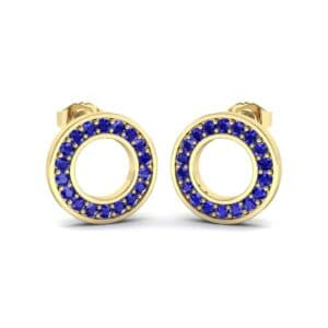 Pave Circle Blue Sapphire Earrings (0.18 Carat)