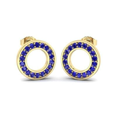 Pave Circle Blue Sapphire Earrings (0.19 CTW) Perspective View