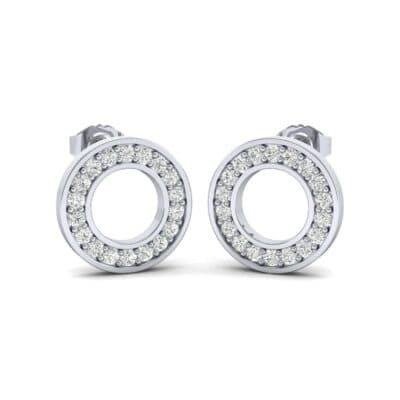 Pave Circle Diamond Earrings (0.13 CTW) Perspective View