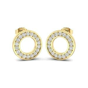 Pave Circle Diamond Earrings (0.14 Carat)