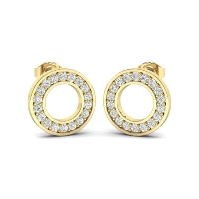 Pave Circle Diamond Earrings (0.14 Carat)