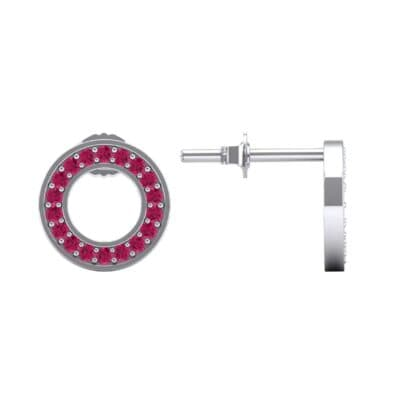 Pave Circle Ruby Earrings (0.19 CTW) Top Dynamic View