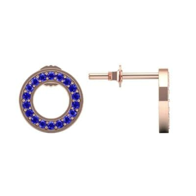 Pave Circle Blue Sapphire Earrings (0.19 CTW) Top Dynamic View