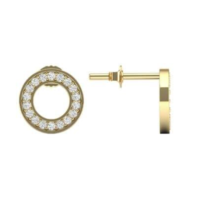 Pave Circle Diamond Earrings (0.13 CTW) Top Dynamic View