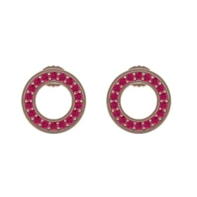 Pave Circle Ruby Earrings (0.19 CTW) Side View