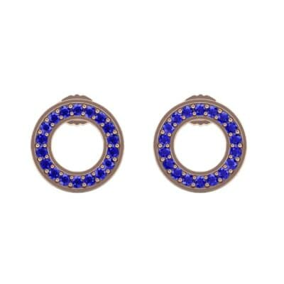Pave Circle Blue Sapphire Earrings (0.19 CTW) Side View