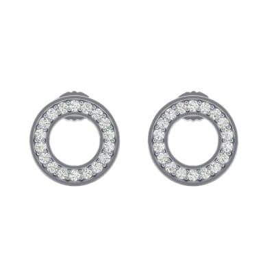 Pave Circle Diamond Earrings (0.13 CTW) Side View