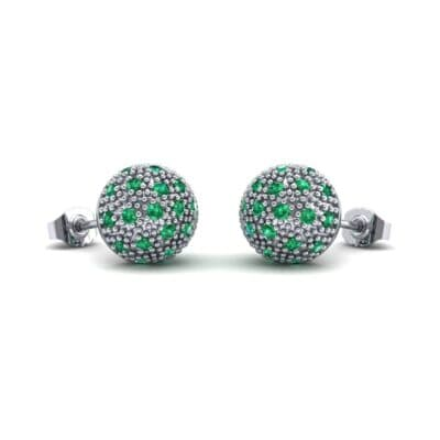 Pave Ball Emerald Earrings (0.7 Carat)