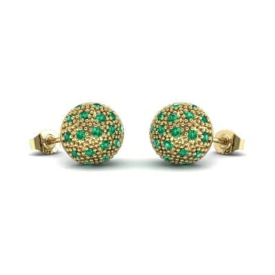 Pave Ball Emerald Earrings (0.7 CTW) Perspective View