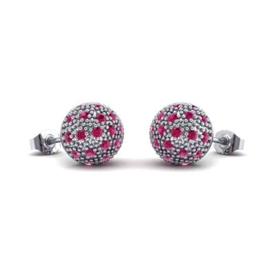 Pave Ball Ruby Earrings (0.7 Carat)