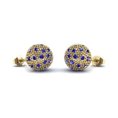 Pave Ball Blue Sapphire Earrings (0.7 Carat)