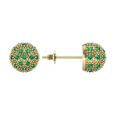 Pave Ball Emerald Earrings (0.7 CTW) Top Dynamic View
