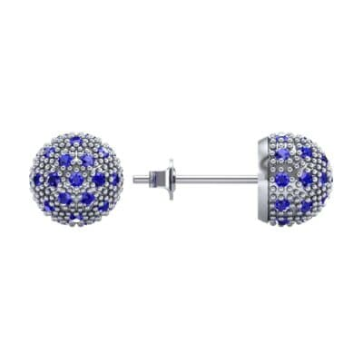 Pave Ball Blue Sapphire Earrings (0.7 CTW) Top Dynamic View