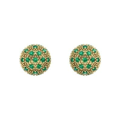 Pave Ball Emerald Earrings (0.7 CTW) Side View
