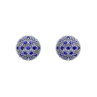 Pave Ball Blue Sapphire Earrings (0.7 CTW) Side View