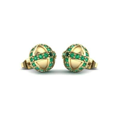 Royal Dome Emerald Earrings (0.82 CTW) Perspective View