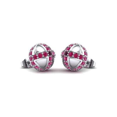 Royal Dome Ruby Earrings (0.82 CTW) Perspective View