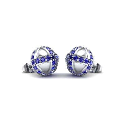 Royal Dome Blue Sapphire Earrings (0.82 CTW) Perspective View