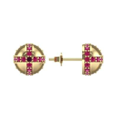 Royal Dome Ruby Earrings (0.82 CTW) Top Dynamic View