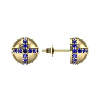 Royal Dome Blue Sapphire Earrings (0.82 CTW) Top Dynamic View